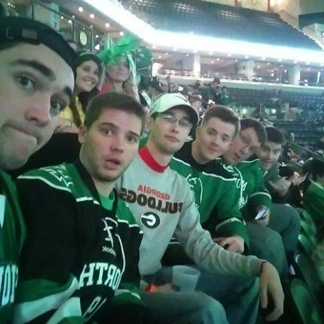Delta Nu goes to the hockey game! (North Dakota 20151109)