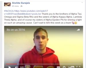 Iota Psi Participates in the It's On Us Campaign (Temple 20160330)