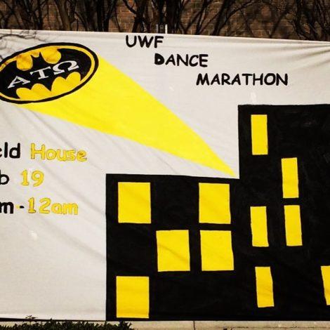 Eta Psi's Makes Batman Banner for Annual Dance Marathon (West Florida 20160221)