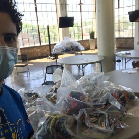 Brother Ryan Barishian volunteering at HuntsvilleFightingCovid headquarters in Huntsville, Alabama